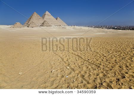 Giza Pyramids With The City