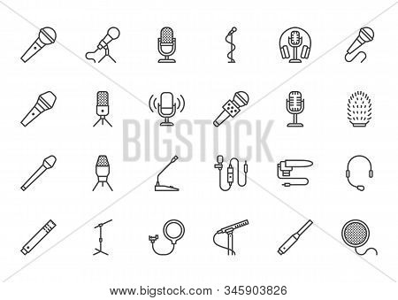 Mic Flat Line Icons Set. Podcast Mike, Journalist Microphone, Karaoke, Conference, Windscreen, Retro
