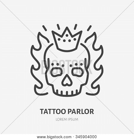Scary Skull With Crown And Flames Flat Line Icon. Tattooist Logo, Vector Illustration. Outline Sign