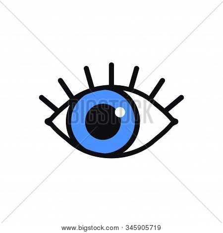 Open Blue Eye Line Icon On White Background. Look, See, Sight, View Sign And Symbol. Vector Linear G
