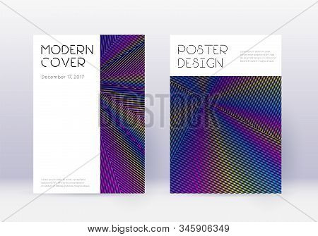 Minimal Cover Design Template Set. Rainbow Abstract Lines On Dark Blue Background. Dazzling Cover De