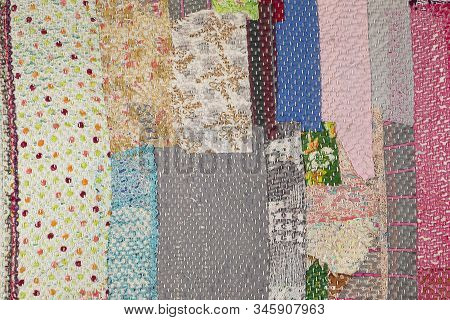 Set Of Seamless Patterns. Old Textile Background.