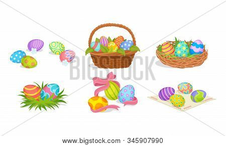 Easter Eggs Resting In Basket And Nest Vector Set
