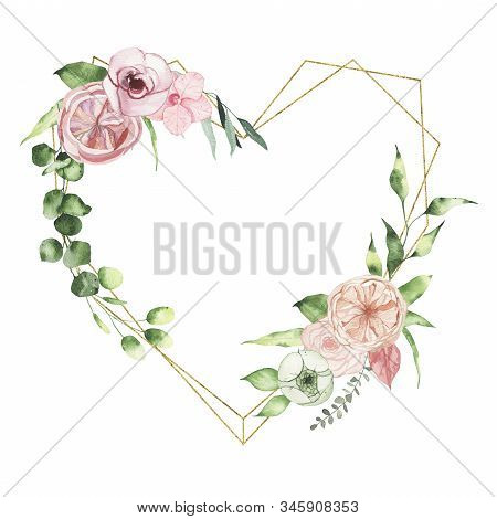 Watercolor Valentines Day Floral Golden Geometrical Heart Wreath With Calla Lily Rose Greenery Leave