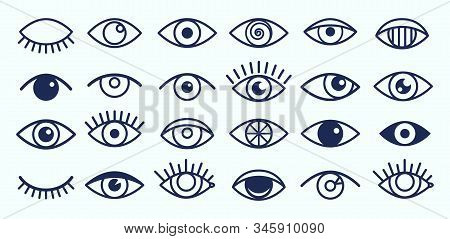 Eye Icons. Outline Eyelashes And Eyes Symbols. Ophtalmology Signs. Sight, Closed And Opened Organ Of