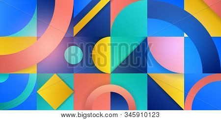 Trending Background In Cubism Style. Illustration With Abstract Figures. Geometric Shapes In Squares