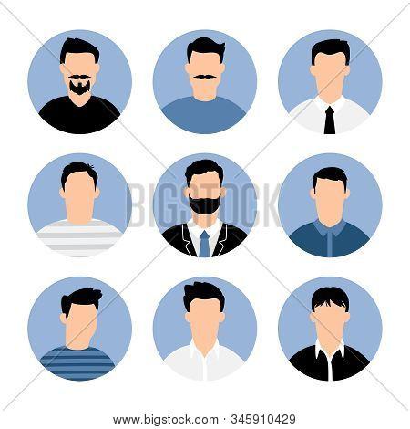 Blue Men Avatars. People Profiles Illustrated Avatar Set, Vector Business Profile Types Portraits, M