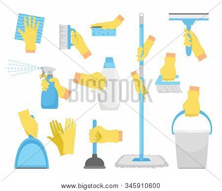Cleanning Tools With Hands. House Holding Equipment In Rubber Glove Hand, Detergent Supply Products
