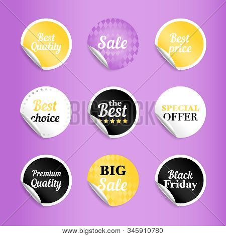 Round Best Offer Sale Stickers. Gold And White, Black And Lilac Sticker Set, Circle Badges For Best