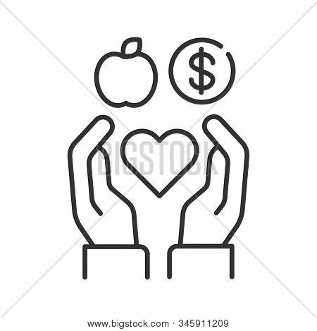 Volunteering Black Line Icon. Non Profit Community. Charity, Humanitarian Aid Concept. Sign For Web