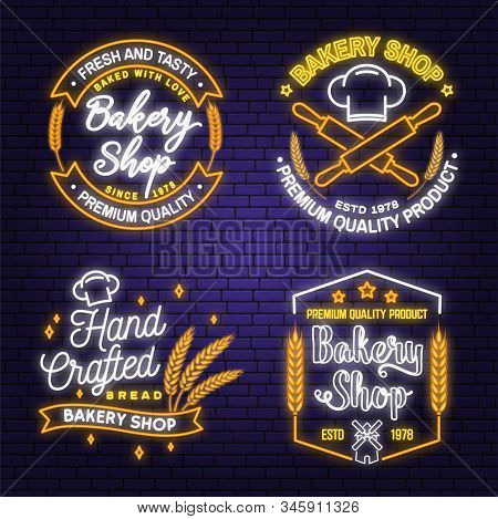 Set Of Bakery Shop Neon Bright Signboard, Light Banner. Vector. Concept For Badge, Shirt, Label. Neo