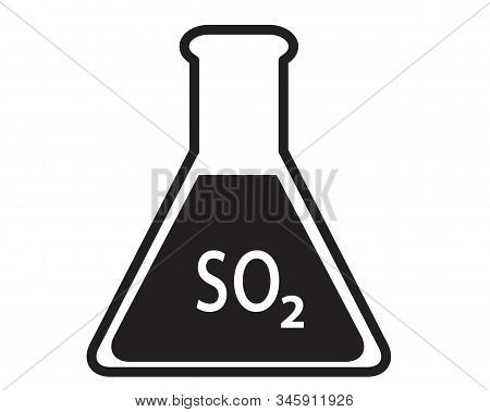 Sulfur Dioxide Flask Icon On White Background. Flat Style. Sulfur Dioxide Flask Sign.
