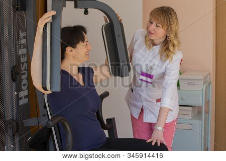 Belarus, The City Of Gomel, April 30, 2019. Rehabilitation Center. The Patient Is Undergoing Rehabil