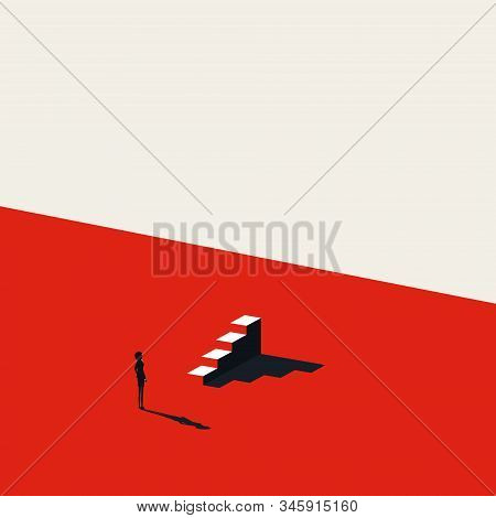 Business Or Career Opportunity For Woman Vector Concept With Stairs. Symbol Of Courage, Strength, Su