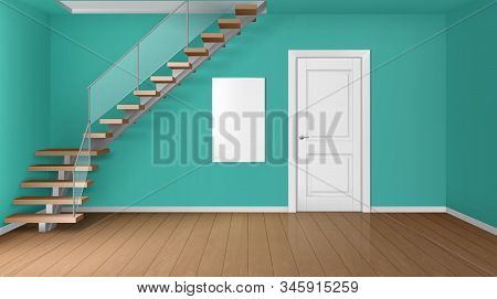 Empty Room With Staircase And White Closed Door. Vector Realistic Modern Interior Of Home Hallway, O