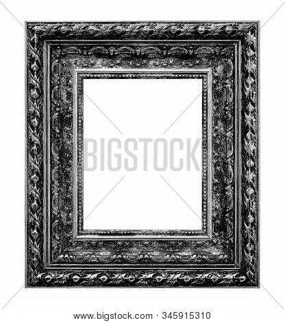 Framework In Antique Style. Vintage Picture Frame Isolated On White Background.
