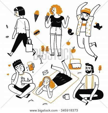 The Drawing Character Of People Are Kind , Eat, Quiet, Sit. Collection Of Hand Drawn. Vector