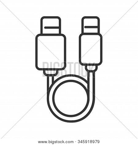 Usb Cable Black Line Icon. Connectors And Sockets For Pc And Mobile Devices Sign. Computer Periphera
