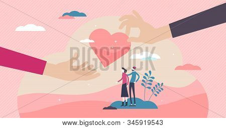 Doing Good Volunteering Concept, Flat Tiny Persons Couple And Hands Giving Heart Symbol. Abstract St