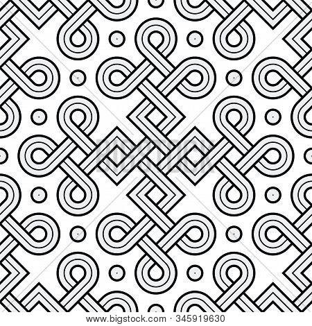 Vector Illustration Of A Viking Nordic Seamless Pattern - Mystic, Decorative Interweaved Gold Engrav