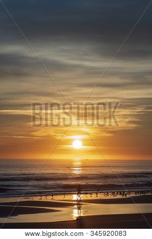 Vertical Image Of A Sunrise Along The Atlantic Coast Of Port Orange, Florida, Featuring A Silhouette