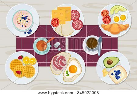 Healthy Breakfast. Food Daily Menu Cheese Biscuits Milk Juice Eggs Butter Meal Vector Cartoon Produc