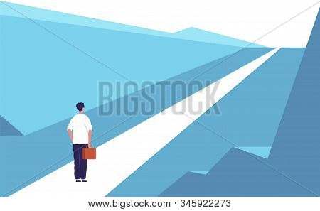 New Journey Concept. Highway Road Abstract Person Standing Outdoor Business Opportunities Vector Fla