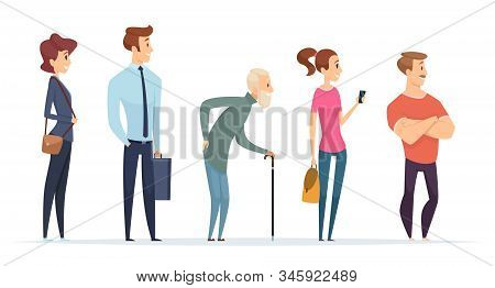 Queue Persons. Profile Characters Male And Female Standing In Line Vector People. Illustration Queue
