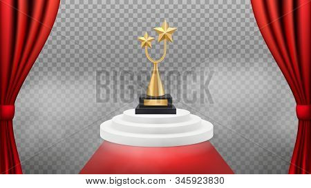 Award Background. Golden Trophy On White Podium And Red Carpet And Curtains. Vector Realistic Award
