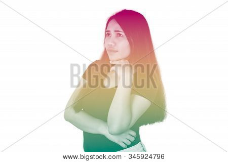 Young Diverse Girl Thinking, Isolated On White Background With Duotone Red Yellow And Green Effect -