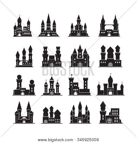 Castle Silhouettes. Medieval Fortress Ancient Towers Vector Flat Buildings Kingdom. Illustration Cas