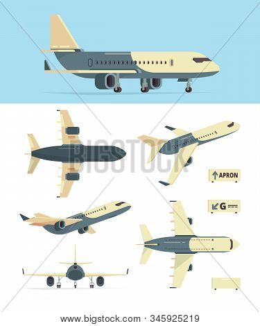 Civil Aviation Plane. Model Of Different Airplanes Views Aircraft Vector Collection. Plane Aviation,