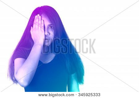 Diverse Asian Woman Holding Hand In Front Of One Eye With Duotone Gradient Filter Effect - Mixed Rac