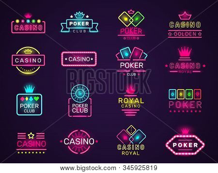 Casino Neon Badges. Poker Club Game Logo Colored Lighting Vegas Style Vector Set. Casino Club Poker,