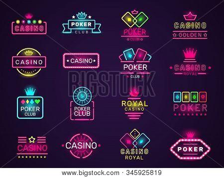 Casino Neon Badges. Poker Club Game Logo Colored Lighting Vegas Style Vector Set. Casino Club Poker,