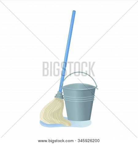 Cartoon Swab With Bucket Stock Vector Illustration. Mop Wipes A Puddle. Cleaning Services, Household