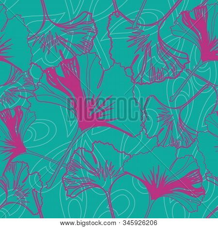 Vector Seamless Pattern Ginko Wax With Pink Ginkgo Leaves And Turquoise Background