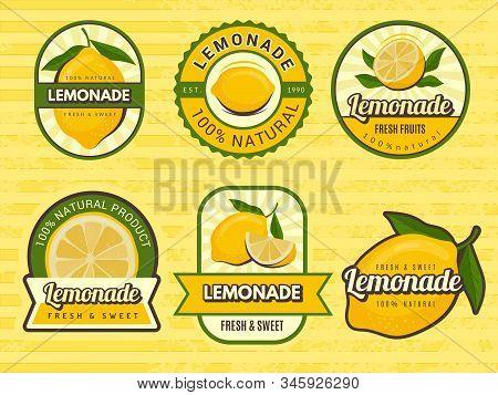 Lemonade Badges. Retro Labels With Lemon Illustrations Vector Design Emblem For Juice. Label Emblem,
