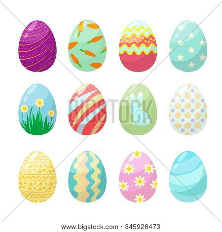 Easter Egg. Cute Polo Colorful Decorated Celebration Eggs Vector Collection. Easter Eggs Collection,