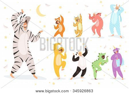 Pyjamas Characters. Happy Kids And Parent Playing In Night Textile Costumes Vector. Illustration Cos