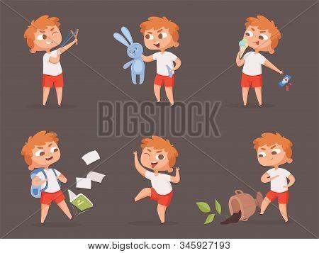 Behavior Kids. Bad Angry Boys Teasing Children Vector Cartoon Set. Illustration Angry Child, Behavio