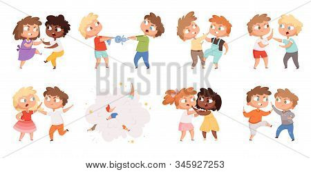 Boys Fighting. School Bully Angry Kids Punishing In Playground Vector Cartoon Characters Set. Illust