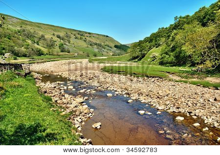 Rocky Riverbed Of The River Swale