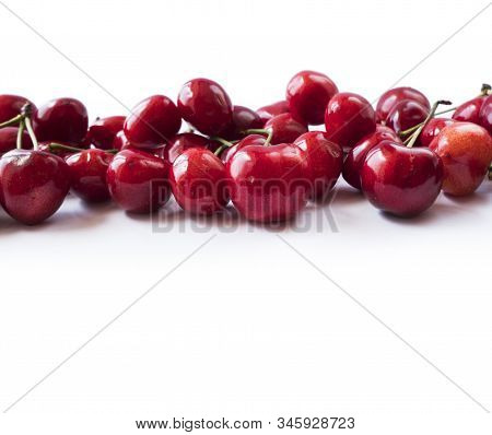 Fresh Cherries Scattered On White. Cherries On A White Background. Fresh Cherry. Cherry Fruit. Cherr