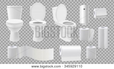 Realistic Toilet Bowl. Restroom Accessories Isolated On Transparent Background. Paper Rolls And And