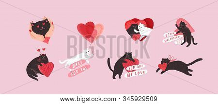 Cute Cats In Love Set. Romantic Valentines Day Set For Greeting Card Or Poster. Flying Cat On Balloo