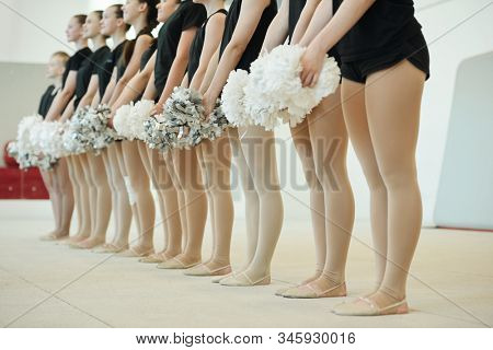 School team of cheerleaders holding pompoms and standing in row