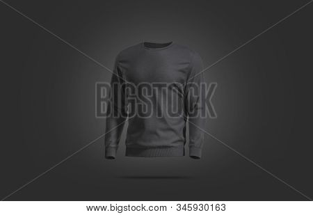 Blank Black Casual Sweatshirt Mock Up, Dark Backgroud, 3d Rendering. Empty Daily Cotton Sweater Mock