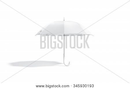 Blank White Opened Umbrella Mock Up Stand, Front View, 3d Rendering. Empty Automatic Canopy For Autu
