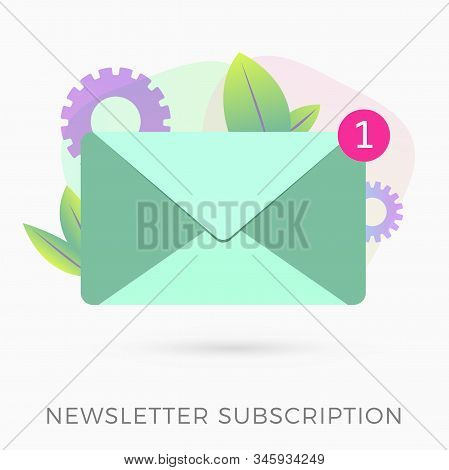 Email Newsletter Subscription Flat Dexign Icon Concept. E-mail Marketing Message With Digital Advert